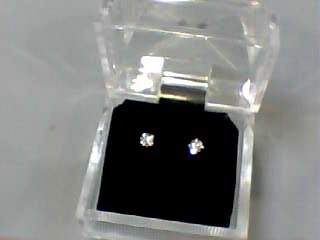 Gold-Diamond Earrings 2 Diamonds .06 Carat T.W. 10K White Gold 0.3dwt