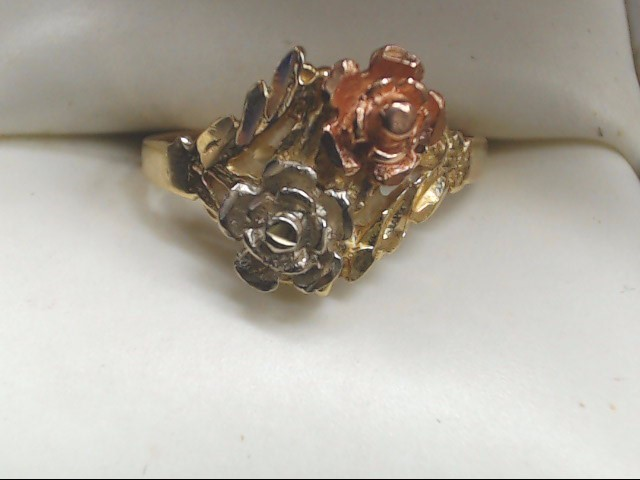 Lady's Gold Ring 14K Tri-color Gold 2.8g Size:7