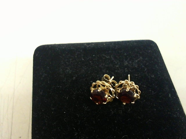 Red Stone Gold-Stone Earrings 14K Yellow Gold 1.5g