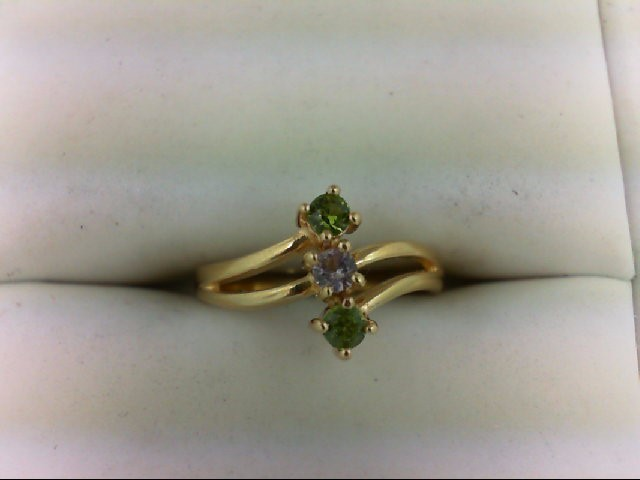 Peridot Lady's Stone Ring 14K Yellow Gold 1.8g