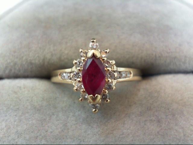 Ruby Lady's Stone Ring 18 Diamonds .18 Carat T.W. 14K Yellow Gold 2.2g