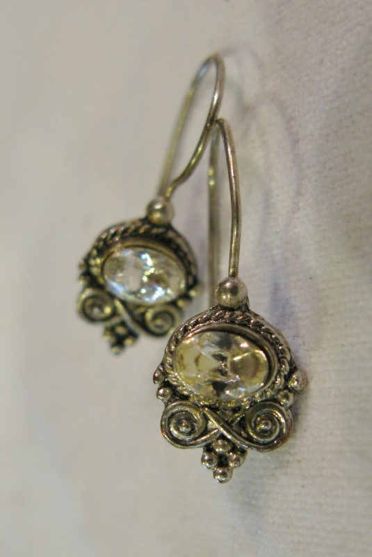 Clear Stone Silver Bali Style Earrings 925 Silver 1.5dwt
