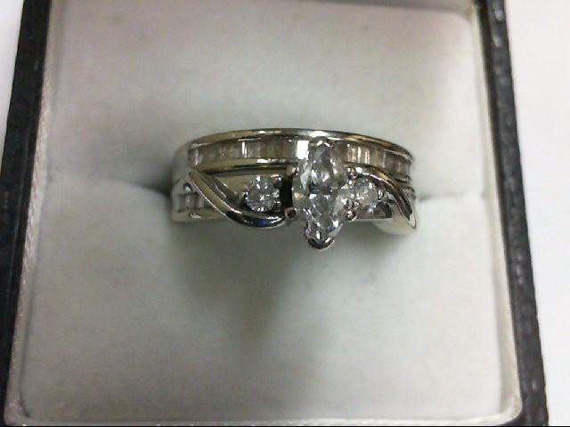 Lady's Diamond Wedding Set 35 Diamonds 0.89 Carat T.W. 10K White Gold 5.9g