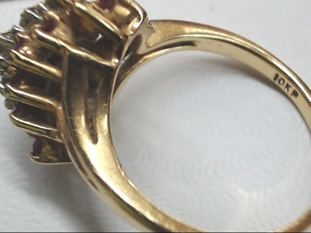 Red Stone Lady's Stone & Diamond Ring 5 Diamonds .05 Carat T.W. 10K Yellow Gold