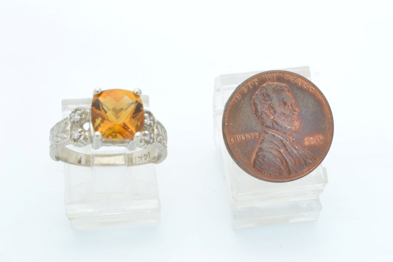 CITRINE ORANGE DIAMOND RING SOLID 14K WHITE GOLD CUSHION CUT SZ 7