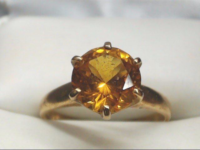 Yellow Stone Lady's Stone Ring 10K Yellow Gold 2.8g Size:7