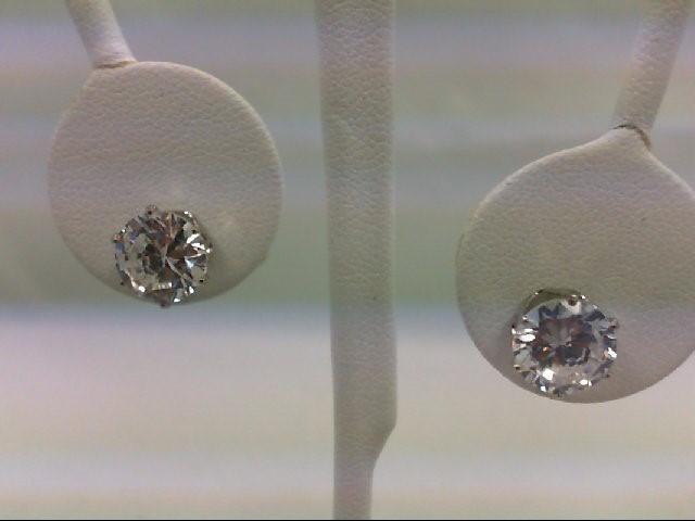 Cubic Zirconia Silver-Stone Earrings 925 Silver 2g