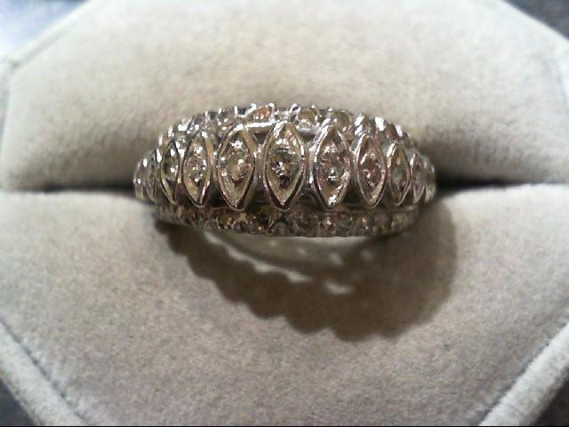 Lady's Diamond Wedding Band 15 Diamonds .39 Carat T.W. 14K White Gold 6.2g