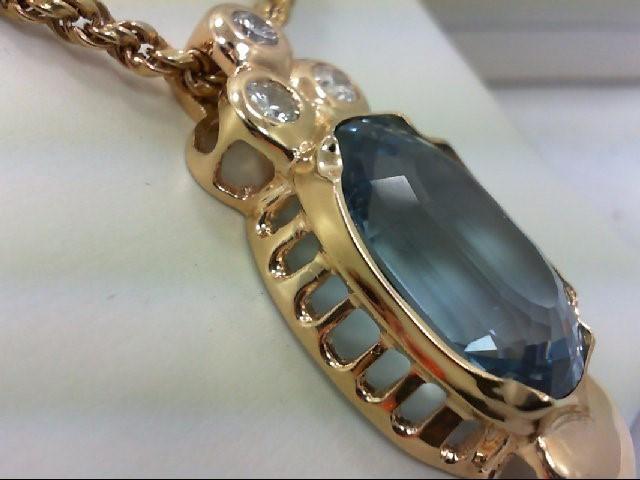 Blue Stone Gold-Diamond & Stone Pendant 3 Diamonds .99 Carat T.W.
