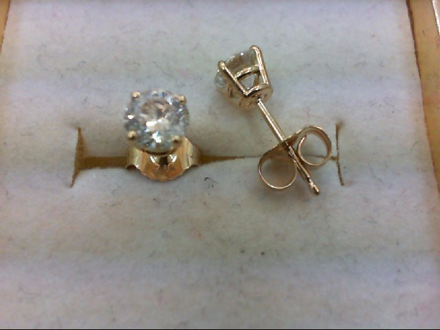 Gold-Diamond Earrings 2 Diamonds .72 Carat T.W. 14K Yellow Gold 0.7g