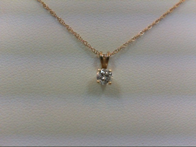 Gold-Diamond Solitaire Pendant 0.2 CT. 14K Yellow Gold 1.1g