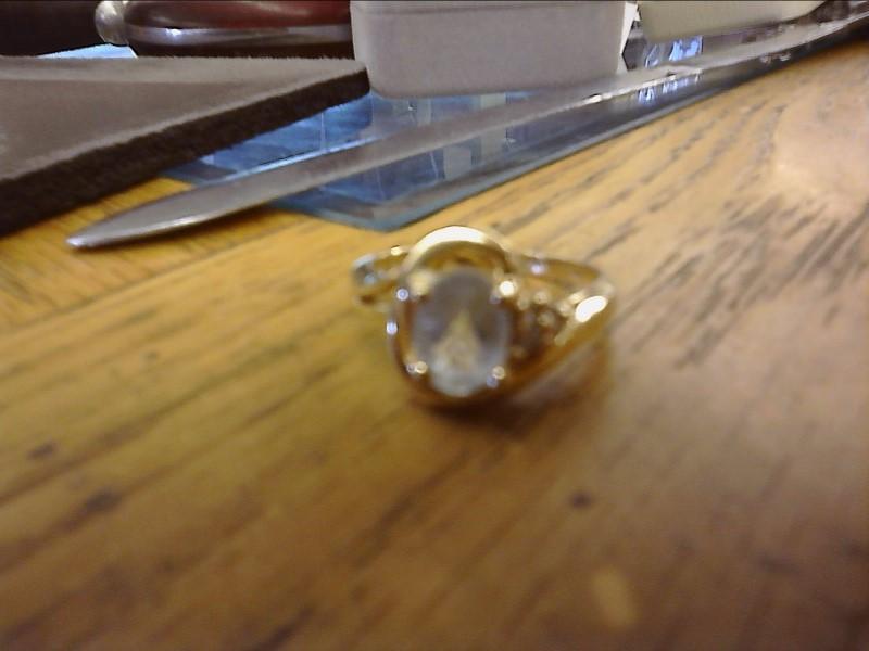 Aquamarine Lady's Stone Ring 14K Yellow Gold 2.05dwt
