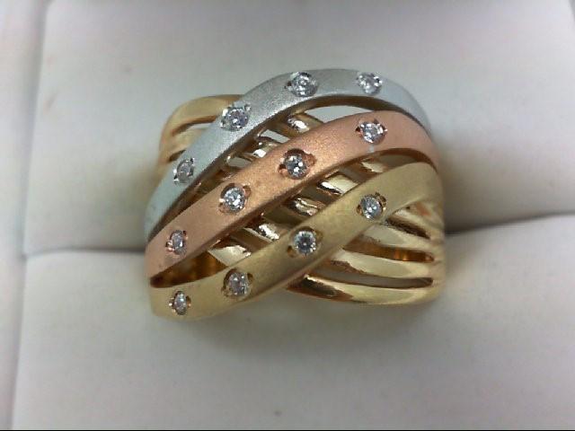 Lady's Diamond Wedding Band 12 Diamonds 0.24 Carat T.W. 14K Tri-color Gold 7.2g
