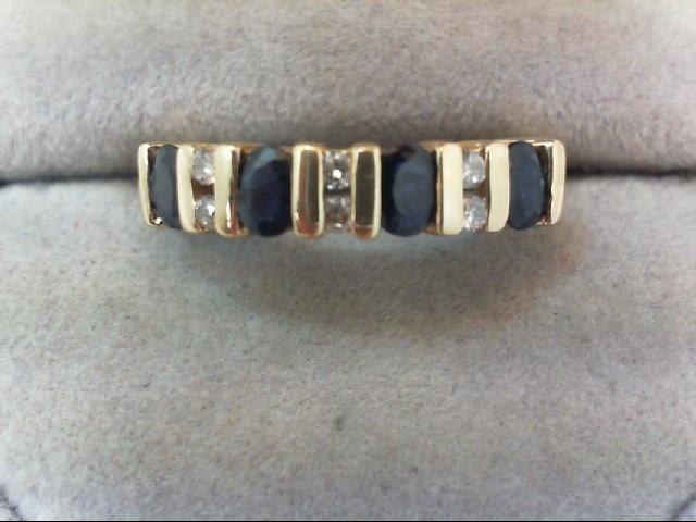 Sapphire Lady's Stone & Diamond Ring 6 Diamonds .12 Carat T.W. 14K Yellow Gold