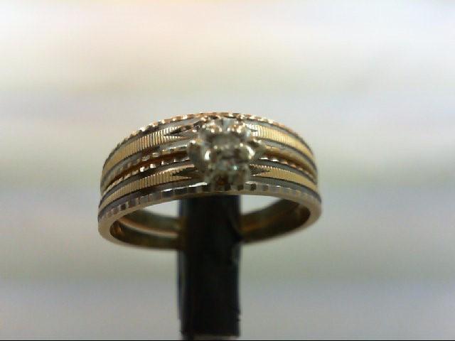 Lady's Diamond Wedding Set 2 Diamonds 0.04 Carat T.W. 14K 2 Tone Gold 3.6g Size: