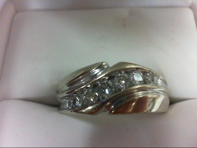 Lady's Diamond Wedding Band 7 Diamonds 0.56 Carat T.W. 14K White Gold 7.8g Size: