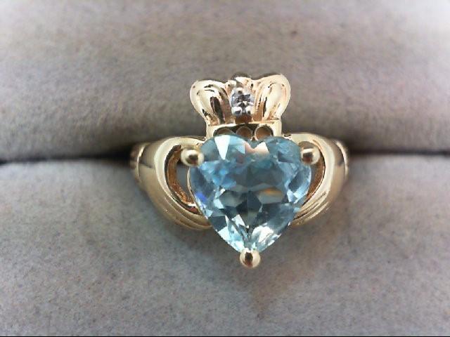 Blue Topaz Lady's Stone & Diamond Ring .01 CT. 14K Yellow Gold 3g