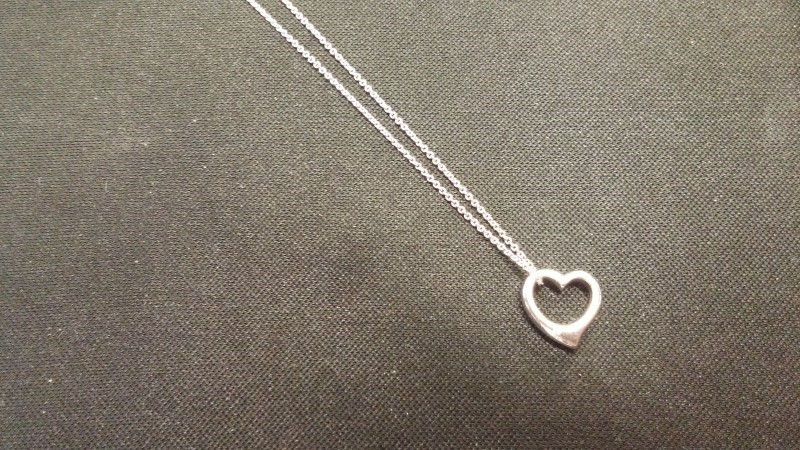 14K White Gold CHAIN WITH HEART PENDANT 1.6dwt