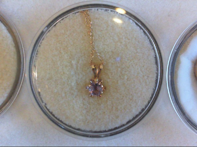 "18"" Amethyst Stone Necklace 10K Yellow Gold 0.7g"