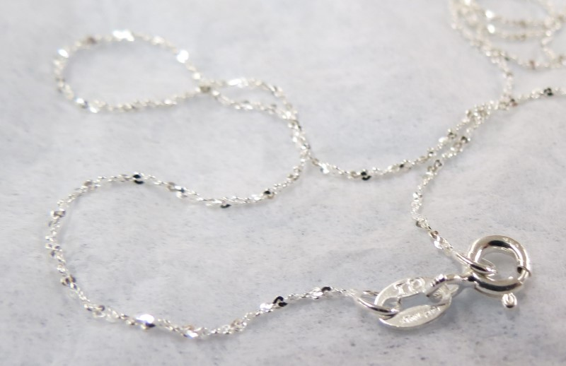 "24"" FINE TWISTED DIAMOND CUT .925 SILVER CHAIN"