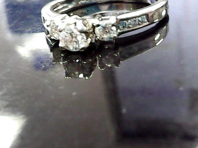 Lady's Diamond Engagement Ring 9 Diamonds .46 Carat T.W. 14K White Gold 1.8dwt