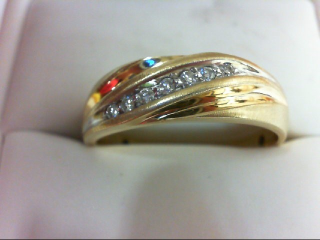 Gent's Gold-Diamond Wedding Band 7 Diamonds 0.2 Carat T.W. 10K Yellow Gold 4g Si