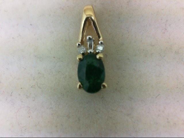 Emerald Gold-Diamond & Stone Pendant 3 Diamonds 0.04 Carat T.W. 10K Yellow Gold