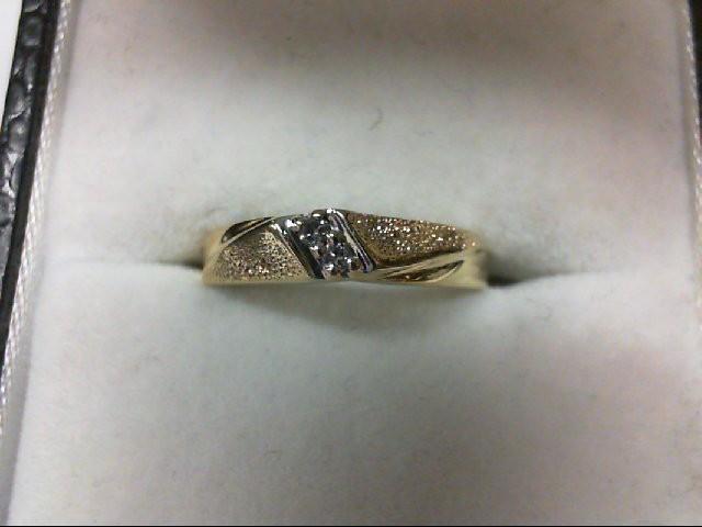 Lady's Diamond Wedding Band 2 Diamonds 0.02 Carat T.W. 14K Yellow Gold 1.5g