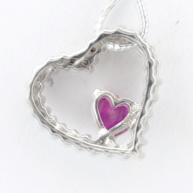 ESTATE DIAMOND RUBY RED HEART PENDANT CHARM SOLID 10K WHITE GOLD