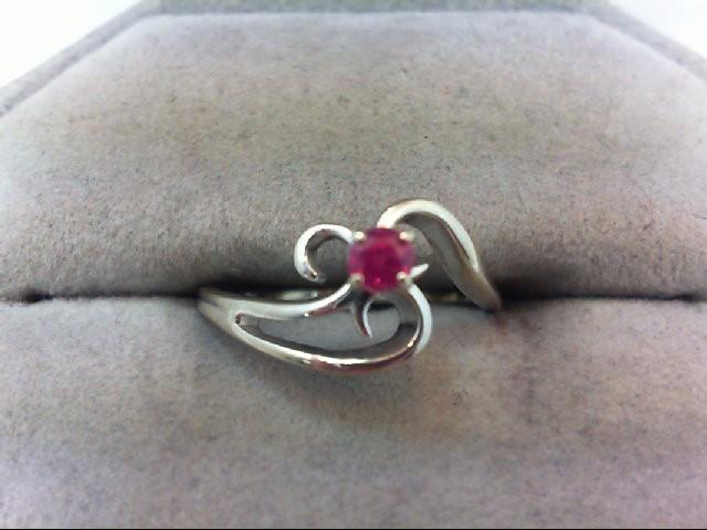 Ruby Lady's Stone Ring 14K White Gold 2.1g