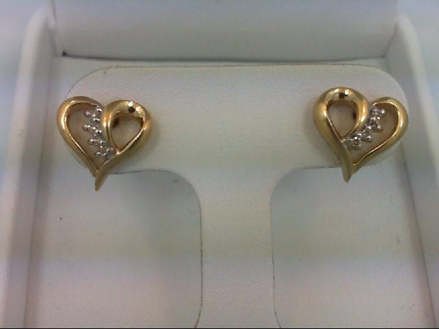 Gold-Diamond Earrings 8 Diamonds 0.08 Carat T.W. 14K Yellow Gold 2.2g
