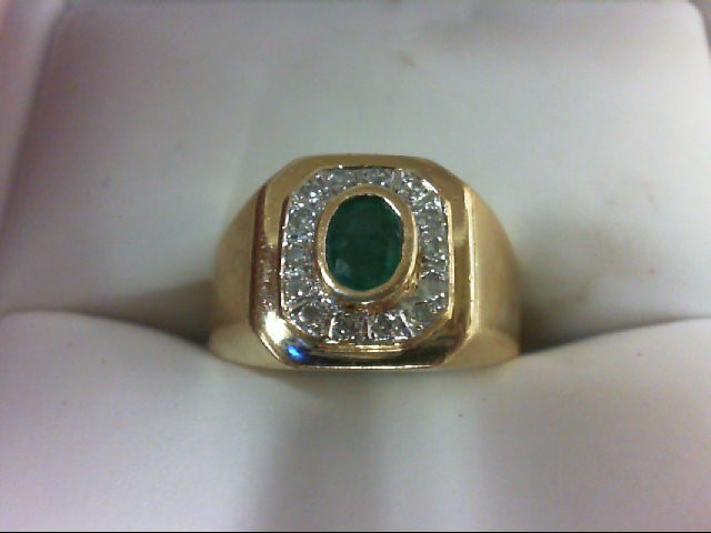 Emerald Lady's Stone & Diamond Ring 14 Diamonds 0.14 Carat T.W. 14K Yellow Gold