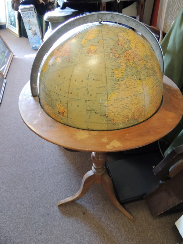 RAND MCNALLY MAP GLOBE - 3' TALL x 2' WIDE - VINTAGE