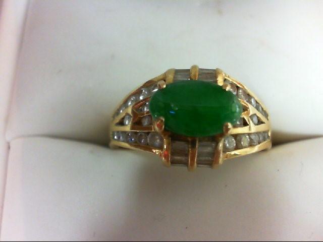 Emerald Lady's Stone & Diamond Ring 18 Diamonds 0.4 Carat T.W. 20K Yellow Gold 5