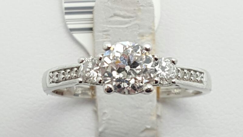 Lady's Diamond Engagement Ring 13 Diamonds 1.01 Carat T.W. 10K White Gold 2g