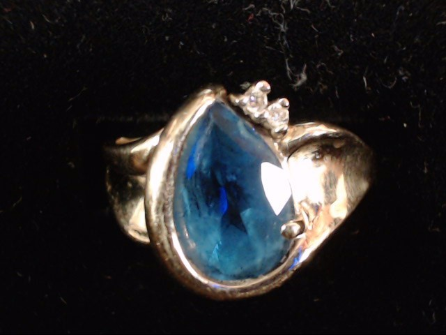 Blue Stone Lady's Stone & Diamond Ring 2 Diamonds .02 Carat T.W.