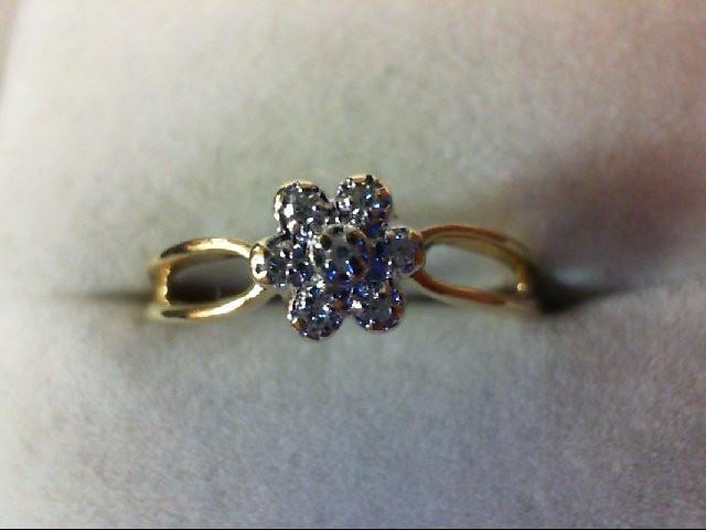Lady's Diamond Cluster Ring 7 Diamonds 0.07 Carat T.W. 10K Yellow Gold 1.2g