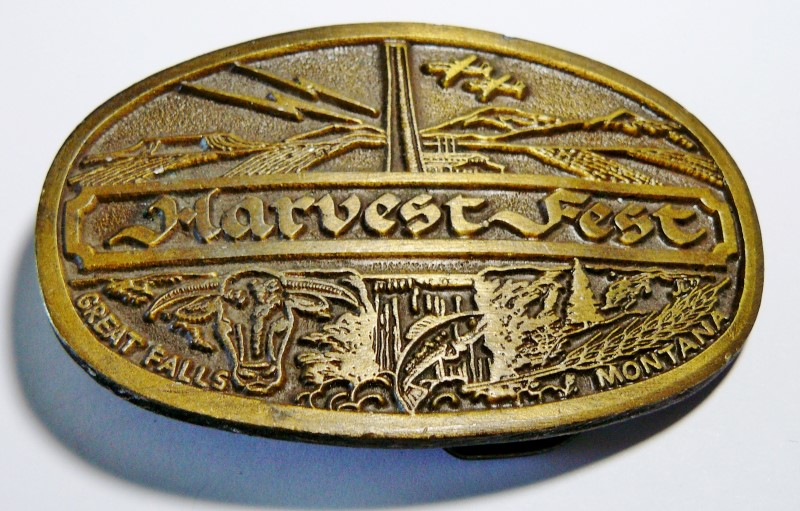 VINTAGE GREAT FALLS, MONTANA HARVEST FEST #1487 BRONZE BELT BUCKLE