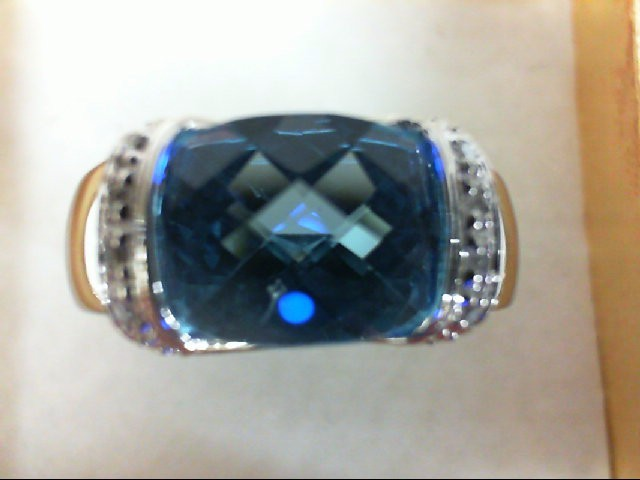 Blue Topaz Lady's Stone & Diamond Ring 16 Diamonds 0.16 Carat T.W. 10K White Gol