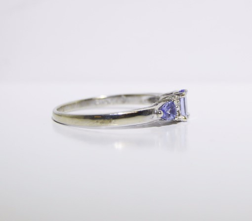Tanzanite Lady's Stone & Diamond Ring 4 Diamonds .04 Carat T.W. 10K White Gold