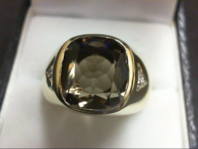 Synthetic Yellow Stone Gent's Stone & Diamond Ring 2 Diamonds 0.02 Carat T.W. 14