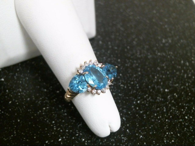 Synthetic Aquamarine Lady's Stone & Diamond Ring 12 Diamonds .12 Carat T.W.