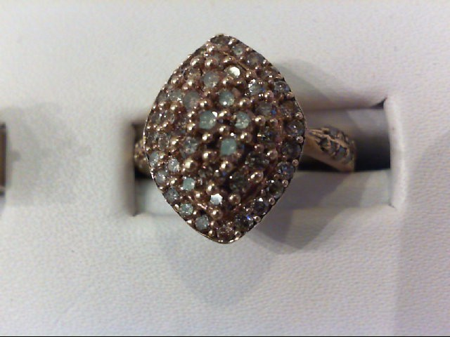 Lady's Diamond Cluster Ring 50 Diamonds .75 Carat T.W. 10K Yellow Gold 4.3g