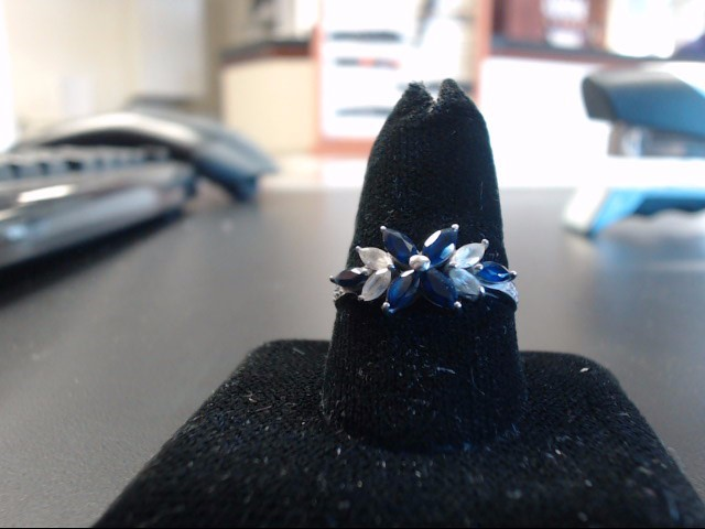 Blue Stone Lady's Stone Ring 10K White Gold 2g