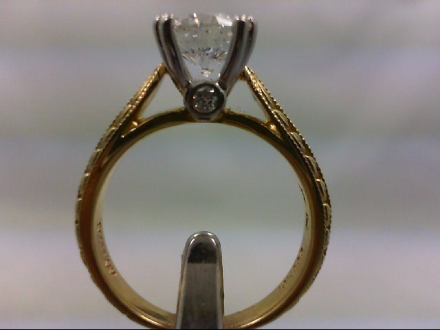 Lady's Diamond Engagement Ring 3 Diamonds 1.64 Carat T.W. 800 Yellow Gold 6.51g