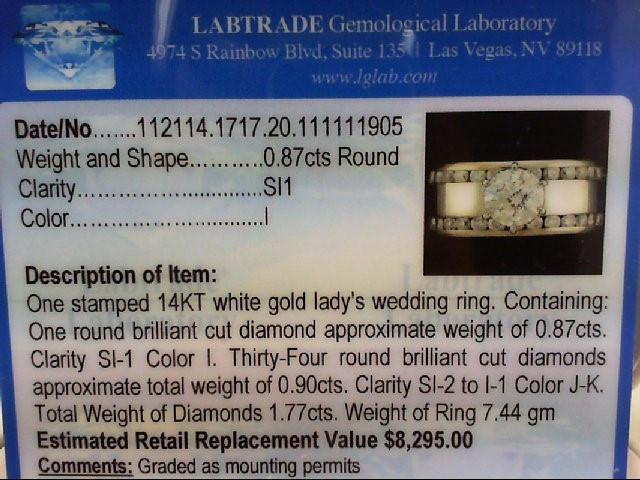 Lady's Diamond Engagement Ring 35 Diamonds 1.75 Carat T.W. 14K White Gold 7.44g