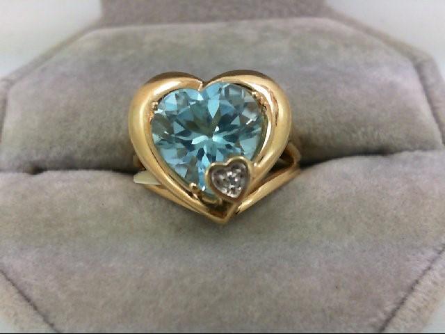 Blue Topaz Lady's Stone & Diamond Ring 0.02 CT. 14K Yellow Gold 4.8g
