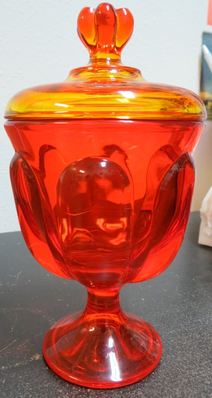 Antique Amberina Glass Covered Dish Firey Orange/Red to Amber/Yellow