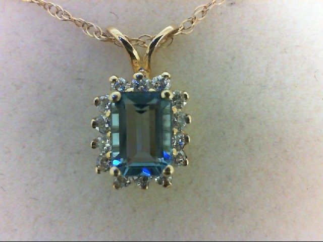 Blue Topaz Gold-Diamond & Stone Pendant 14 Diamonds 0.28 Carat T.W. 14K Yellow G