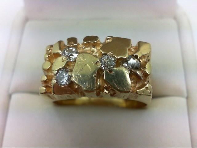 Gent's Gold-Diamond Wedding Band 4 Diamonds 0.48 Carat T.W. 14K Yellow Gold 13.9